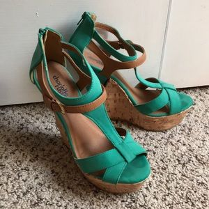 Teal and Brown Charlotte Russe Wedges